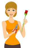 Rose Cutter Girl — Stock Photo