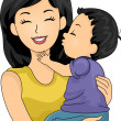 Stock Photo: Mom and Son Kiss