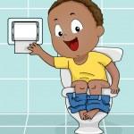 Boy Reaching for Toilet Paper — Stock Photo #46203445