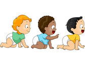 Crawling Baby Boys — Stock Photo
