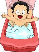 Baby Boy Bubble Bath — Stock Photo