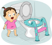 Little Girl Flushing Toilet — Stock Photo