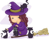 Witch Girl Cats — Stock Photo