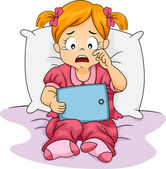 Crying Tablet Girl — Stock Photo