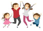 Family Jump — Stockfoto