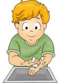 Boy Washing Hands — Stock Photo
