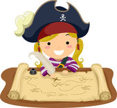 Pirate Girl Map — Stock Photo