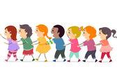 Linha kids conga — Fotografia Stock