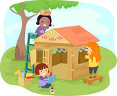 Carton Playhouse Girls — Stock Photo