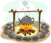 Boiling Water Camp Fire — Stock Photo