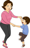 Mother and Son Dance — Stock Photo