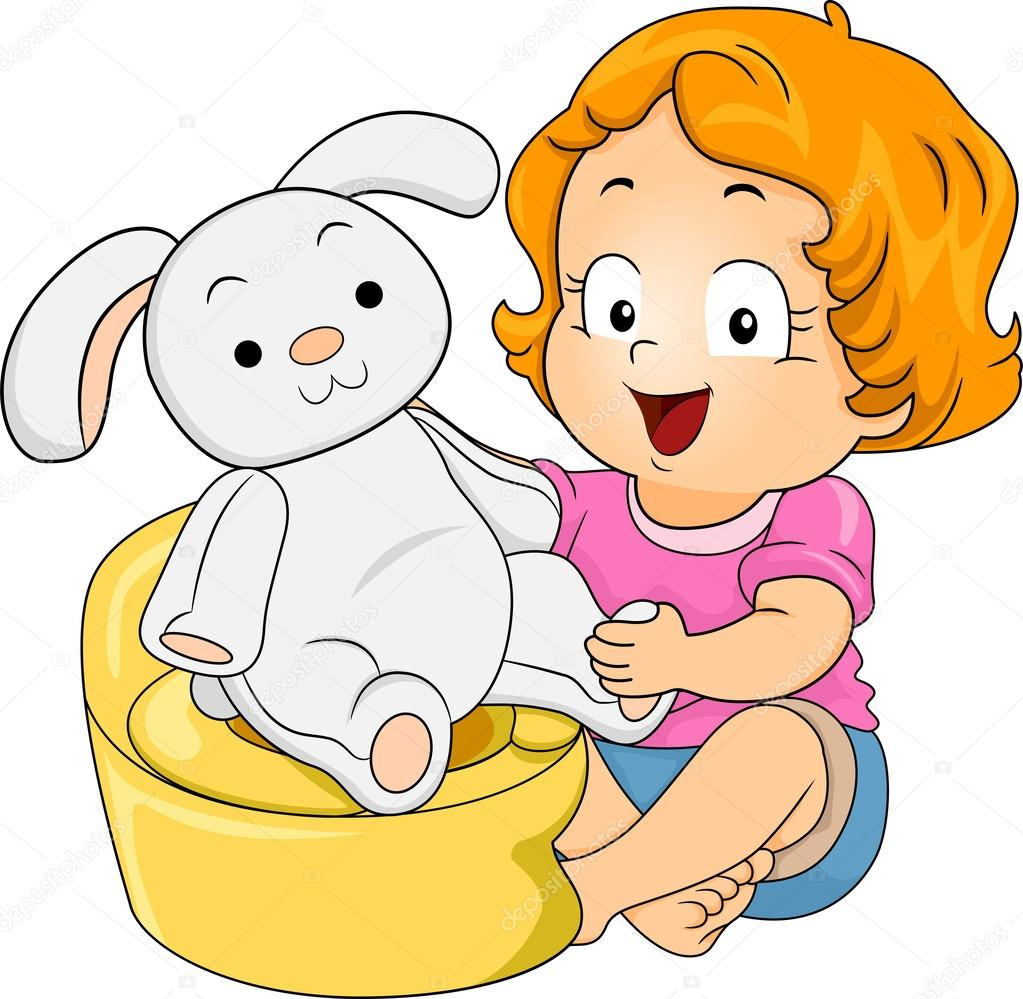 Bunny Potty Training — Stock Photo © lenmdp #46203551