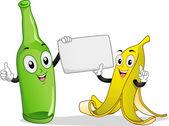 Banana and Bottle Mascot — Stock Photo