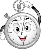 Analog Stopwatch Mascot — Stock Photo