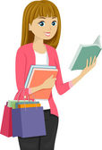 Girl Shopping for Books — Stock Photo