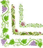 Corner Border Illustration of Grapevines — Stock Photo