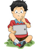 Tablet Thinking Boy — Stockfoto