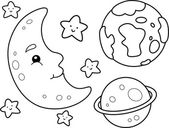 Outer Space Coloring Page — Stock Photo