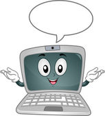 Laptop Mascot Speech Bubble — Photo