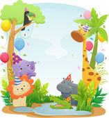 Safari Animal Birthday Background — Stock Photo