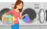 Laundromat Girl — Stock Photo