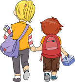 Siblings Walking Home — Stock Photo