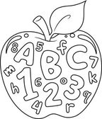 Numbers and Letters Coloring Page — Stock Photo