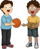 Boys Sharing Basketball — Stock Photo