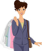 Dry Cleaning Girl — Stock Photo