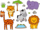Safari Animal Stickers — Stock Photo