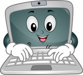 Laptop Mascot Typing — Stock Photo