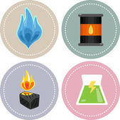 Non-renewable Energy Icons — Stock Photo