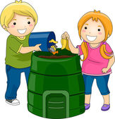 Compost Bin Kids — Stock Photo