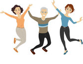 Seniors Jump Shot — Stock Photo
