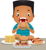 Binge Eating Boy — Stock Photo