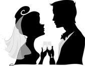 Wedding Toast Silhouette — Stock Photo