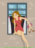 Girl Sneaking Out — Stock Photo