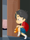 Boy Sneaking Out — Stock Photo