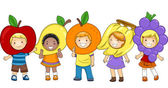 Kids Fruits Costumes — Stock Photo