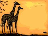 Giraffe Savanna Background — Stock Photo