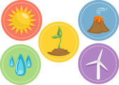Renewable Energy Icons — Stock Photo