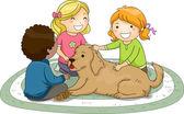 Kids Petting Dog — Stock Photo