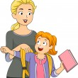 Mother Helping Daughter Put on Schoolbag — Stock Photo #51512857