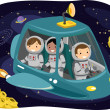 Kids Riding a Space Ship — Stock Photo #51514023
