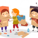 Kids Making Makeshift Robots — Stock Photo #51514107