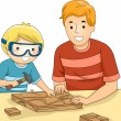 Father and Son Bonding Over a Woodworking — Stock Photo #51514635