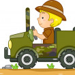 Постер, плакат: Boy Driving a Camouflage Jeep