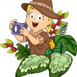 Girl in a Safari Outfit Holding a Camera — Stock Photo #51514799