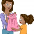Mother Presenting a Dress to Her Daughter — Stock Photo #51514801
