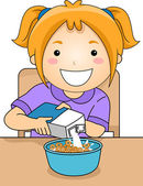 Girl Pouring Milk on  Bowl of Cereal — Stock Photo